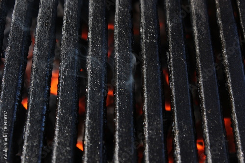 Close up BBQ grill with smoke - 80426917