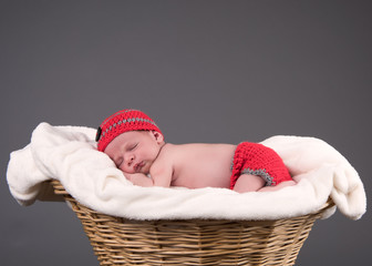 Newborn baby sleeping in a basket with grey background.