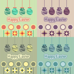 The vector illustration of set of easter postcards