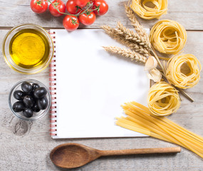 Cooking book with traditional Italian pastas