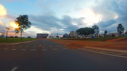 Driving around Central Brasilia city capital of Brazil