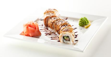 Salmon and Smoked Eel Maki Sushi