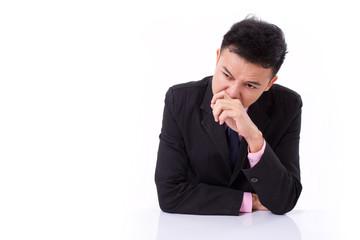 sick businessman suffering runny nose