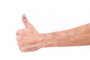 hairy man's hand giving thumb up gesture