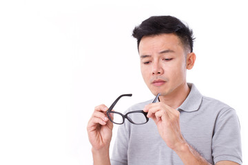 man suffers from short-sightedness, myopia or others eye disorde