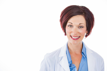 Headshot happy mature female doctor isolated white background