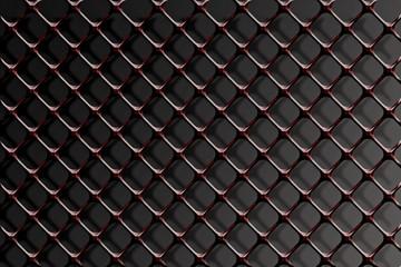 Steel grating on a black background.