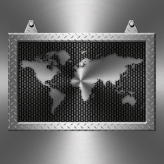 Metal diamond plate frame on a metal background