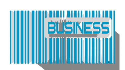 blue 3D barcode and business text within