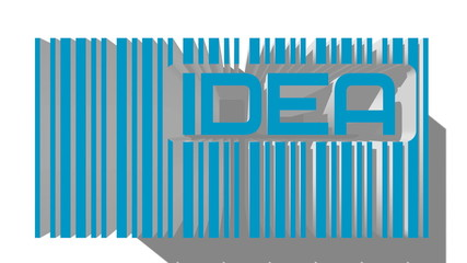 blue 3D barcode and idea text within