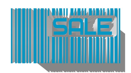 blue 3D barcode and sale text within