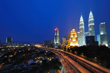 Kuala Lumpur Cityscape Night Scenery, Malaysia