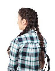girl with long braids