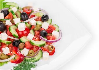 Greek salad in plate.