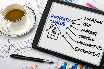 property concept hand drawing on tablet pc