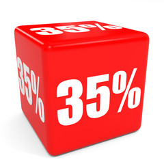 3D red sale cube. 35 percent discount.
