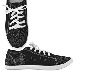 Black shoes with white laces and floral pattern
