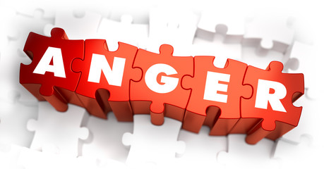 Anger - Text on Red Puzzles with White Background.