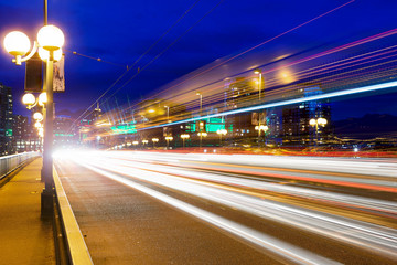 Rush Hour Light Trails on Cambie Bridge