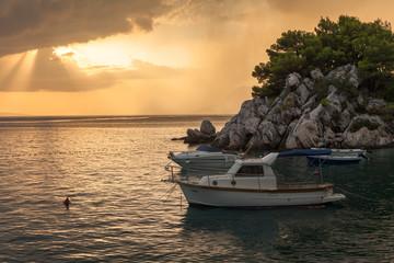Boats. Adriatic sea before storm