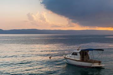 Boat. Adriatic sea before storm