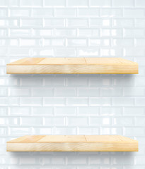 Empty Wooden Table top and shelf at white tile ceramic wall,Temp