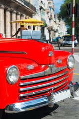 Beautiful vintage car on a street in downtown Havana