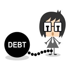 Vector businessman chain debt or money