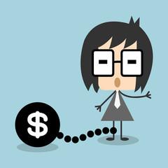 Vector businessman chain debt or money, EPS10