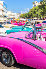 Colorful group of old cars in Havana