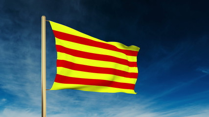 Catalonia flag slider style. Waving in the win with cloud