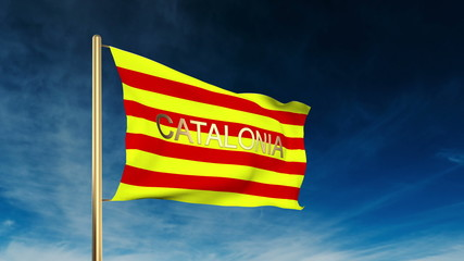 Catalonia flag slider style with title. Waving in the wind with