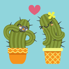 loving couple of cactus taking a pictures