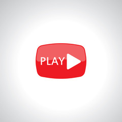 video play icon on red glossy button with white arrow and play t