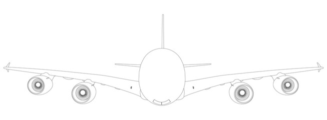 Wire-frame airplane. Front view. Vector illustration