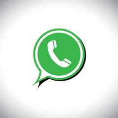 green flat design vector icon of phone receiver for mobile messa