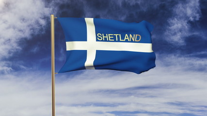 Shetland flag with title waving in the wind. Looping sun rises