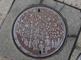 manhole drain cover on the street at Ximen in Taipei, Taiwan.