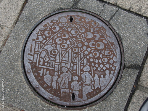 Foto op Plexiglas Tunnel manhole drain cover on the street at Ximen in Taipei, Taiwan.