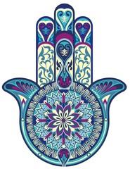 Hamsa hand.Decorative vector hand