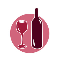 Vector image of a wine glass and bottle