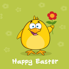 Happy Easter With Yellow Chick With A Red Daisy Flower