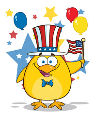 Yellow Chick Waving An American Flag On Independence Day