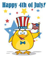 Patriotic Yellow Chick Character Waving An American Flag