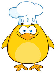 Funny Chef Yellow Chick Cartoon Character