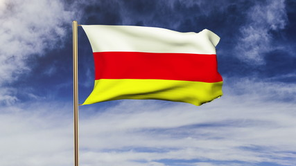 South Ossetia flag waving in the wind. Green screen, alpha matte