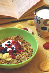 Breakfast flakes with book