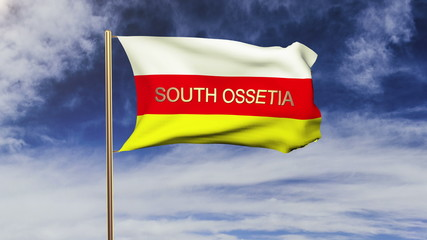 South Ossetia flag with title waving in the wind. Looping sun