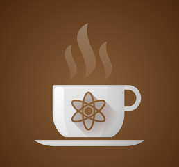 Coffee cup with an atom