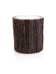 Stylish brown candlestick with reflection